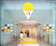 how cute is this gelato shop? Dri Dri Gelato pop-up shop in London via blackeiffel Design Shop, Shop Interior Design, Retail Design, Tool Design, Design Ideas, Cafe Interior, Kitchen Interior, Design Design, House Design