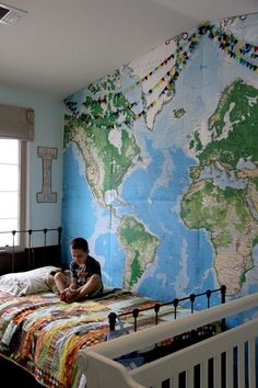 Sooo awesome and when they get older they can tag the wall with places they want to visit. Boy Room, Kids Room, Boy And Girl Shared Room, Airplane Room, World Map Wallpaper, Girls Bedroom, Bedroom Wall, Murals For Kids, Pottery Barn Kids