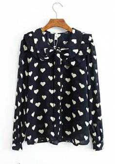 Navy Chiffon Lotus leaf collar Long Sleeve Button Fly Print Tops