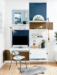 Home Office Idea   String Shelves & Color Blocked Walls