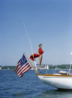 On the water for the Love the yacht flag. Yacht Boat, Yacht Club, Slim Aarons, Sail Away, Cruises, New England, The Hamptons, 4th Of July, Summertime