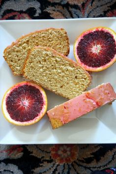 Meyer Lemon Bread with Blood Orange Glaze