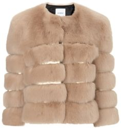 Ainea Beige Gold Faux Fur Jacket