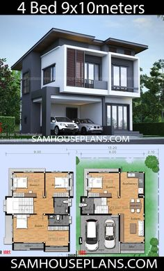 House Plans Idea 9x10m with 4 Bedrooms - Sam House Plans