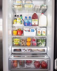 are loving this fabulous fridge reorganization from 😍🙌 . Cant get enough of the use of fridge bins, and her rainbow 🌈 assortment of fruits and veggies!We are loving this fabulous fridge. Refrigerator Organization, Kitchen Organisation, Container Organization, Home Organization, Fridge Makeover, Fridge Decor, Declutter Your Life, Wall Storage, Storage Baskets