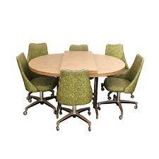 70s kitchen avocado green chromcraft vinyl chrome dining set 6 chairs table - Chromcraft Dining Room Furniture
