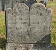 Newport, Rhode Island,Carving by John Bull.Reads: Wait daughter of William and Desire Tripp died April aged 10 days. Also William their son died March 22 MO. Also his wife's Arm Amputated Feb