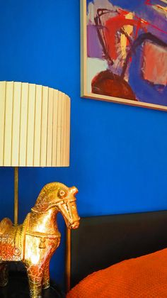 Bright Boudoir | Abstract art with gold Bitossi Horse lamp