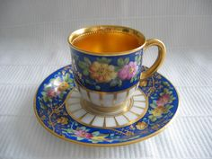 DRESDEN LAMM COBALT AND GOLD FLORAL DEMITASSE CABINET CUP AND SAUCER EXCELLENT #LAMM