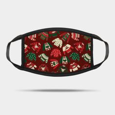 Masks by Sandra Hutter Designs   TeePublic Red Sweaters, Ugly Christmas Sweater, Red Green, Face Masks, Sunglasses Case, Beige, Ash Beige, Facials