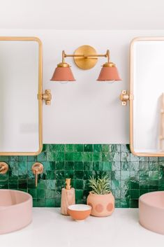Prepare Your Retinas—This Striking Master Bathroom Makeover Is Eye-Popping, Have you ever seen a bathroom with bright green tiles? Step inside this makeover to see how it's done. Bad Inspiration, Bathroom Inspiration, Bathroom Ideas, Green Bathroom Tiles, Bathroom Organization, Bathroom Makeovers, Remodel Bathroom, Bathroom Pink, Boho Bathroom