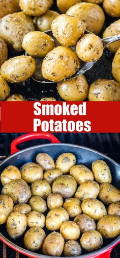 Smoked Potatoes - baby potatoes that are seasoned and then cooked on the smoker. They get just a little crispy on the outside, fluffy on the inside and full of such great flavor! Smoked Potatoes, Baby Potatoes, Side Dish Recipes, Easy Dinner Recipes, Appetizer Recipes, Yummy Recipes, Outdoor Cooking Recipes, Yummy Food, Barbecue Recipes