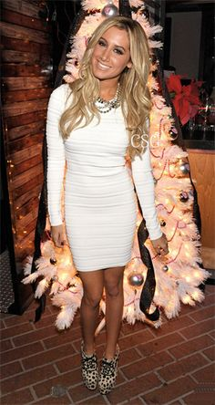 Ashley Tisdale was gorgeous in the Torn by Ronny Kobo Malena Ottoman Sailor Stripes Dress the Blondie Girl Productions Holiday Party at The Village in Studio City December 17, 2012