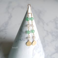 Gemstone Earring - Rose Quartz and Green Aventurine Rose Earrings, Gemstone Earrings, Beaded Earrings, Handmade Fabric Bags, Semi Precious Beads, Green Aventurine, Ear Rings, Rose Quartz, My Etsy Shop