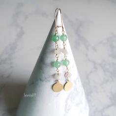 Gemstone Earring - Rose Quartz and Green Aventurine Rose Earrings, Gemstone Earrings, Beaded Earrings, Handmade Fabric Bags, Semi Precious Beads, Green Aventurine, Ear Rings, Rose Quartz, My Etsy Shop