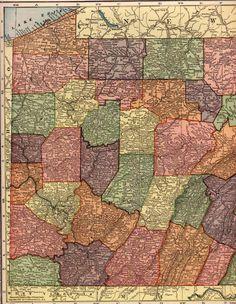 Map of Pennsylvania 1912