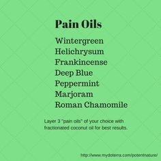 "Layer 3 ""pain oils"" of your choice with fractionated coconut oil for best results. http://www.mydoterra.com/potentnature/"