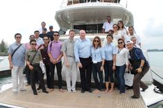 Monte Carlo Yacht Grand Tour May 30, 2014 - Print Media Publications enjoyed the Monte Carlo Yacht 76 in Port Dickinson at Admiral Marina and Leisure Club.  #SimpsonMarine #Yacht #MonteCarloYacht