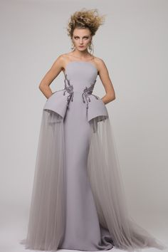 """Azzi & Osta Couture Fall/Winter 16/17   """"Promises Of Dawn""""    Grey, Dress, Strapless, Fishtail, Crepe, Tulle,  Hand Embroidery, White Pearls, Metallic Silver Thread"""