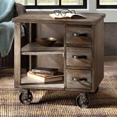 Update your home's decor with this accent end table on wheels featuring a durable wood construction, finished in a warm reclaimed grey with three working drawers and two shelves for extra storage. End Tables With Drawers, Side Table With Drawer, End Tables With Storage, Living Room End Tables, Living Room Decor, Farmhouse End Tables, Modern Farmhouse, Farmhouse Style, Display Shelves