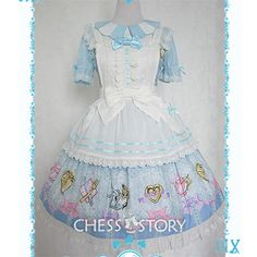Free shipping worldwide!  Items include one OP dress and one match apron  Material: Surface is made of Thin high-density combed cotton; Lining is made of cotton and ice silk cotton.  For seasons: spring/ summer/ autumn  Color: Blue dress and white apron  Size reference:  Size S:  Sh...