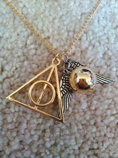 Gold Harry Potter Deathly Hallows & Golden Snitch Necklace USA SELLER