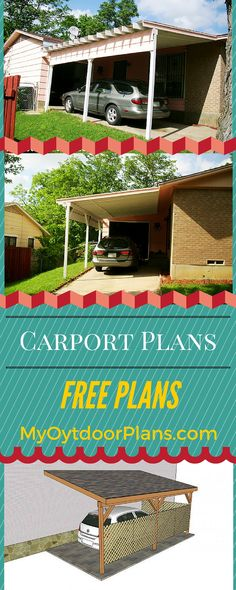 How to build an attached carport! Free plans and easy to follow instructions for you to build a wooden lean to carport attached to the house! myoutdoorplans.com #diy #car #carport
