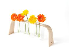 wood and glass vases