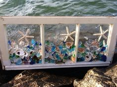 Best 12 Antique Windows vintage windows distressed windows beach inspired mermaids New England coastline beach cottage decor sea glass art Sea Glass Crafts, Sea Glass Art, Seashell Crafts, Beach Crafts, Mosaic Glass, Beach Cottage Style, Beach Cottage Decor, Coastal Decor, Seaside Style