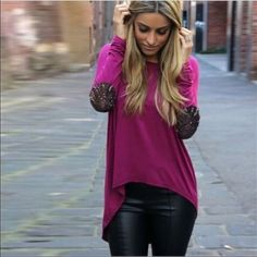 Magenta glitter elbow patch hi low tunic Beautiful magenta colored hi low tunic with silver elbow patches. This is a lightweight top, and would benefit from being layered with a tank underneath for better coverage. Sizes S - XL available. NWOT - True to size, measurements available upon request. ❤️Multiple in stock, please request a new listing for purchase!❤️ Tops Tunics