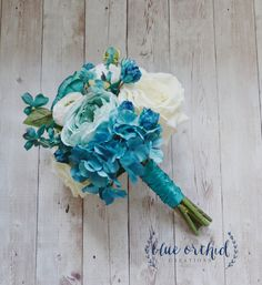 Hey, I found this really awesome Etsy listing at https://www.etsy.com/listing/236404467/silk-wedding-bouquet-with-blue-turquoise