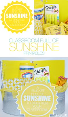 "A Bucket Full of ""SUNSHINE"" to brighten up your classroom! Fill a bag, bucket, or anything will YELLOW school supplies! Fun gift and free pr..."