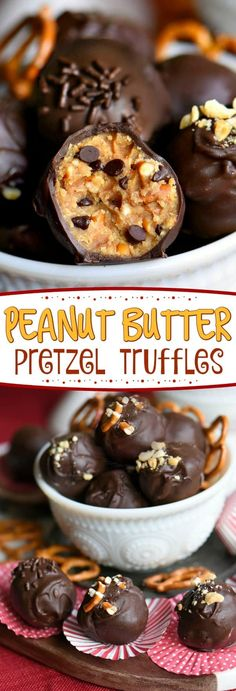 It s not a party without these easy Peanut Butter Pretzel Truffles Extra creamy and delicious and loaded with peanut butter chocolate chips and pretzels The ultimate sweet and salty combination Mom On Timeout FritoLay Jello Recipes, Baking Recipes, Cookie Recipes, Dessert Recipes, Kid Recipes, Whole30 Recipes, Vegetarian Recipes, Healthy Recipes, Pretzel Recipes