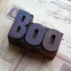 Halloween: BOO - wooden printer's letters