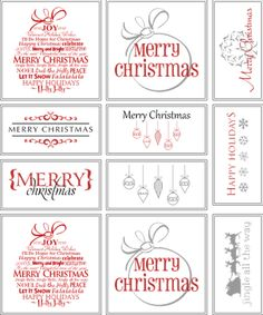 Free printable Christmas tags :) Love the red one, tied with jute and add a pinecone or two :)
