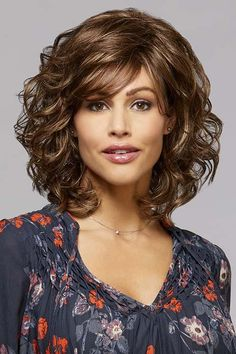 Find the Felicia Wig by Henry Margu Wigs. Felicia is a beautiful shoulder length style with soft loose end curls. Curly Hair With Bangs, Curly Hair Cuts, Curly Bob Hairstyles, Short Curly Hair, Hairstyles With Bangs, Wavy Hair, Easy Hairstyles, Curly Hair Styles, Pretty Hairstyles