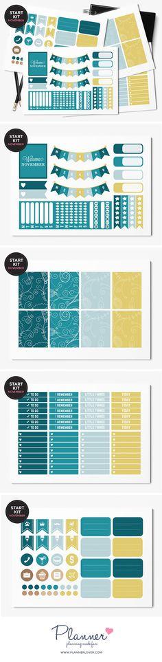 November Color Palette Planner Sticker Kit for Erin Condren Vertical Planner. This starter kit for November contains 125 planner stickers. Each sticker sheet is approximately 16cm x 11cm.