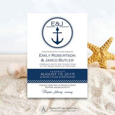 Nautic Printable Weddings Invitation Navy Anchor - Nautical Summer Invite EDITABLE Sea Wedding Cards Template Diy - INSTANT DOWNLOAD Digital