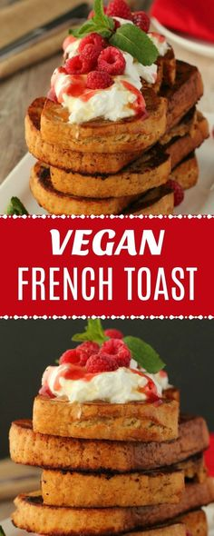 You won't miss the eggs with this easy and delicious vegan French toast. It's crispy on the outside, soft on the inside and makes the perfect breakfast. When I first heard about vegan french toast, I Savory Breakfast, Perfect Breakfast, Vegan Breakfast Recipes, Delicious Vegan Recipes, Brunch Recipes, Yummy Food, Breakfast Ideas, Healthy Recipes, Brunch Ideas