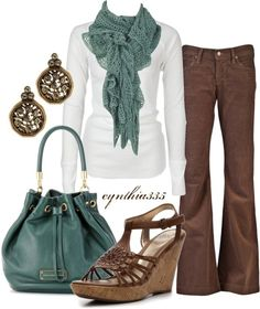 cute outfit.  Maybe the pants could be more of a boot cut rather than really wide at the bottom.
