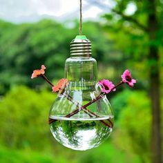 Bulb Shape Hanging Flower Hydroponic Plants Glass Vase Home Decor