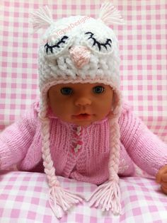 BABY OWL HAT, Baby crochet hat, white baby hat, Pink Newborn, photo prop, ears, Baby beanie, plaits, Baby shower gift, by KerryJayneDesigns