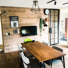 Love the wood feeling in this decor. Kitchen Dinning Room, Room Design, Home Decor, Vintage Living Room, Home Interior Design, Industrial Style Interior, Interior Deco, Interior Design Furniture, Storefront Design