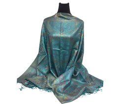 100% Silk-Shawl-Premuim-Pashmina-shawl-Scarf-Paisley-Wrap-Soft-Warm-GIFT-Reversible-wedding-bridal-bride-pink-gold-turquoise-blue-yellow by PashminaaCollection on Etsy