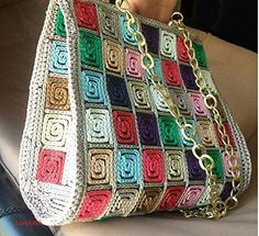 Handmade Crocheted Multi Color Women Shoulder Bag 5 mm Plastic Canvas Polypropylene Cordon