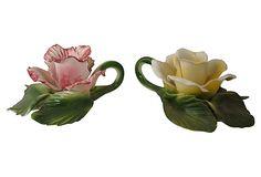"Italian Flower Candleholders 6""L x 4""W x 3""H ($199.00)  $79.00 OneKingsLane.com"