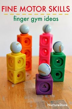 Fine motor skills activities finger gym idea fine motor skills using blocks and marbles Fine Motor Activities For Kids, Eyfs Activities, Motor Skills Activities, Gross Motor Skills, Preschool Activities, Finger Gym, Funky Fingers, Learning Through Play, Play Gym
