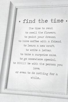 find the time