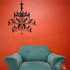 Crystal Chandelier Wall Applique Decal • Removable Wall Decal • Fancy Chandelier Home Accent