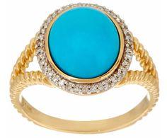 14K YELLOW GOLD SLEEPING BEAUTY TURQUOISE & DIAMOND ROPE DESIGN RING SIZE 8 QVC #QVC